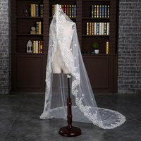 Wholesale Korean Wedding Veils - Brand New Korean Fashion Lace Soft Yarn Big Applique Edge White Lace Trailing Length Free Size Wedding Bride Accessories Veil