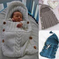 Wholesale Newborn Hooded Blanket - Babies knitting sleeping bags Infant boys girls cotton hooded tassel blanket baby newborn autumn winter cocoon sleep sack T0179