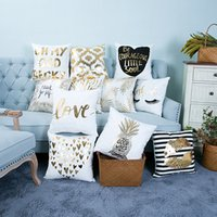 Wholesale Gold Car Seat Covers - Bronzing Cushion Cover Gold Printed Pillow Cover Decorative Pillow Case Sofa Seat Car Pillowcase Wholesale