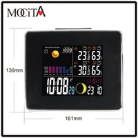 Wholesale Weather Station Clock Led - MOCITA HOT RF Wireless Weather Station with LED Backlight Thermometer Hygrometer Barometer Digital Double Alarm Clock