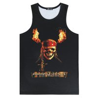 Commercio all'ingrosso - Uomo Cappello del pirata del cranio Top Punisher Clown Crew Neck Vest