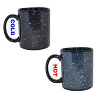 taza de café mágico cambia de color al por mayor-Starry Sky Magic Color Change Mug Constellation Hot Coffee Changing Cup Heat Reactive Drinking Tazas para la oficina en el hogar New Arrival 8yr R
