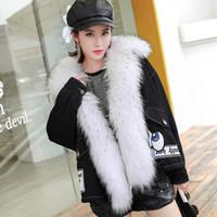 Wholesale Genuine Lamb Fur Coats - 2017 new fashion women luxurious Large genuine raccoon fur collar flight suit lady hooded coat lamb fur liner parkas short winter jacket
