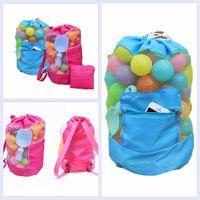Wholesale Bag Children Backpacks - 50PCS Kids Beach Toys Receive Bag Folding Mesh Sandboxes Child Sandpit Storage Shell Net Sand Away Beach Mesh Pouch Backpack YYA203