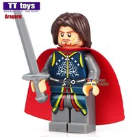 Wholesale toy lord rings - WholeSale 20pcs The Lord of the Rings Hobbit Aragorn II with Sword Minifig Assemble Building Blocks Kids Learning Toys Gifts
