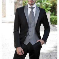 Wholesale Tuxedo Vest Set Piece - Free Shipping New Style Men Suit With Sliver Grey Vest Tuxedos Groomsmen Slim Fit 3 Piece Set,For Men Wedding Suit Hot sale