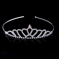 Wholesale Rhinestone Crystal Tiaras - Hot Sale Beautiful Shiny Crystal Bridal Tiara Party Pageant Silver Plated Crown Hairband Cheap Wedding Accessories 2017