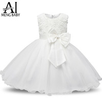 Wholesale Silk Flowers For Clothes - Wholesale- Ai Meng Baby Flower Princess Girl Dress Wedding First Birthday Newborn Baby Baptism Clothes Toddler Kids Party Dresses For Girls