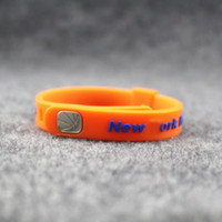 Wholesale Wristband For Balance - New hot sale fashion jewelry metal buckle size adjust basketball sport silicone power bangle energy wristband balance bracelet for knicks