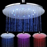 Wholesale Lit Waterfall Tap - Round Waterfall Shower Heads LED Temperature Sensor 12 Inch Shower Light Modern Rainfall 3 Colors(Blue, Green, Red) LED Tap Shower