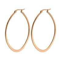 Wholesale Large Gold Filled Hoops - Fashion Jewelry Rose Gold Hoop Earrings Women'S High Quality Black Ellipse Creole Large Hoop Earrings For Party Wedding