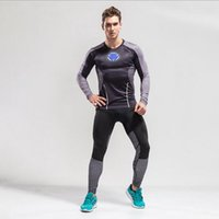 Wholesale training suits for men - 2017 New Compression Running Sets Quick Dry Sports Suit Clothes For Men Fitness Sports Joggers Training Gym Tracksuits Running