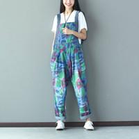 Wholesale Ladies Animal Print Jumpsuits - Wholesale- Women Gradient Printed Holes Vintage Jumpsuits Ladies Denim Loose Overalls Female Rompers Denim Trousers Pants Colorful
