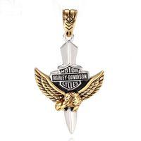 Wholesale Men Eagle Necklaces - Stainless steel pendant personality retro Harley titanium man punk Eagle Pendant pendant letters