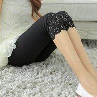 Wholesale Cheap Leggings Plus Size Women - Wholesale- Fashion Cheap Women Summer Leggings Plus Size hollow out Mid-calf Flower floral Pants Female Short Leggins Slim Elastic trouser