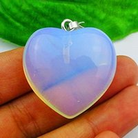 Wholesale Carved Stone Pendant Beads - YZ03 carved Opal Opalite heart Pendant Bead DIY Jewelry Making stone