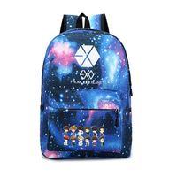 Wholesale School Exo - New 2017 Korean Women's Colorful Canvas Backpack Teenage Girls Fashion EXO Bags Harajuku Backpack Rucksacks For School A097