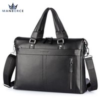 Wholesale Hugo Men - Genuine Leather bag Business Men bags Laptop Briefcases Crossbody bags Shoulder Handbag Men's Messenger Bag Bolsas Victor Hugo