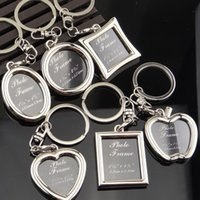 Wholesale Heart Shaped Metal Photo Frame - Originality Photo Frame Round Heart Apple Shape Metal Alloy Keychain Key Chain Keyring Car Keychains Couples Keyring Business Gift