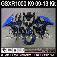 Wholesale Suzuki Fairing Blue Flame - 8gifts blue flames For SUZUKI GSXR1000 09 10 11 12 13 GSXR-1000 12MY62 GSX R1000 K9 GSXR 1000 2009 2010 2011 2012 2013 Fairing gloss black