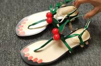 Wholesale Trendy Rubber Sandals - u719 40 black green red genuine leather pearl cherry t bar low heel sandals designer runway luxury g beach fashion trendy gladiator