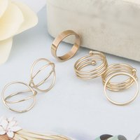 Wholesale Bague Color - 6Pcs punk gold-color stackable Knuckle midi rings for women Finger Ring set bague Ring Set anillos mujer anel