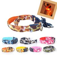 Perro Mascota USB Puppy Recargable Led Ajustable Luminoso Nylon Collar de Seguridad Nocturna Brillante Brillo de Camuflaje Collar S201772