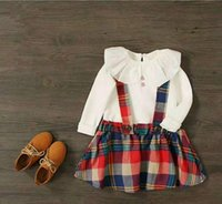 Wholesale T Shirt Plaid Suspenders - 2017 NEW Kids hot selling Clothing Sets white T-shirt + plaid suspenders skirt lovely summer girls free shipping