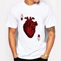 Wholesale Poker T Shirts - New Arrival 2017 Fashion Heart Poker t-shirt Summer Style Short Sleeve t shirt Men Camisetas Hombre Cool Tees