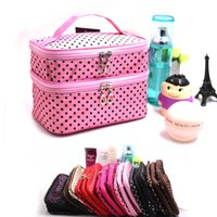 Wholesale Cheap Makeup Bags Cases - New Arrival dot cosmetic makeup bags cases boxes cheap Womens Makeup bags large capacity portable storage travel make up bags cases