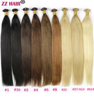 "Wholesale Human Hair Flat Tip - ZZHAIR 16""-24"" Flat Tip Remy Hair 100% Brazilian Human Hair Extensions 100s pack Capsule Keratin Hair 100g"
