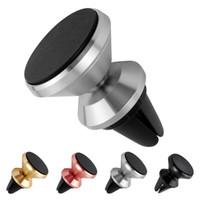 универсальный магнит оптовых-Универсальный магнитный 360 градусов вращения мини-автомобильный держатель вентиляционного отверстия алюминиевый сплав металлический магнит настольное крепление для iPhone смартфон Samsung