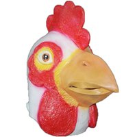 Wholesale Rooster Chicken Costume - Novelty Halloween Party Animal Chicken Mask Head Face Rubber Carnival Latex Halloween Headgear Costume Mask Prop Theater Rooster Mask