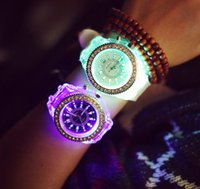 Wholesale Diamond Watch Led - Geneva luminous personality diamond led fashion trend male and female students couple jelly quartz watch