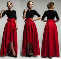 Wholesale Taffeta Floor Length Skirts - 2017 New Elegant Red Taffeta High Low Skirts For Woman Fashion Waist Belt Floor Length Girls Long Skirts Custom Made Formal Party Dresses