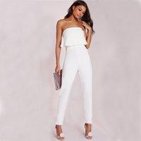 Wholesale ladies runway - Sexy Ladies White Long Jumpsuit Slim Ruffles Strapless Jumpsuits Rompers Elegant Ladies Party Runway Pants Outfit ZSJG0301