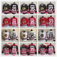 Wholesale Roenick Jersey - Throwback Chicago Blackhawks 18 Denis Savard 35 Tony Esposito 21 Stan Mikita 27 Jeremy Roenick Red Black White Vintage Ice Hockey Jerseys