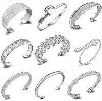 Wholesale Infinity Bracelet Sterling Silver - infinity Bracelets 925 Sterling Silver Fashion Charms Bangle Bracelet Retro Vintage Mixed Styles Jewelry for Women Christmas Gift Wholesale