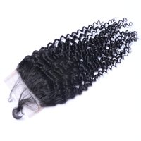 Haute qualité Peut être teintée Kinky Curly Human Virgin Hair Bundles Extensions Couleur naturelle Brazilian Indian Peruvian Malaysian 4 * 4 Closure