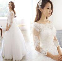 Wholesale Girl Neat Dress - New Arrival Hot Sale Fashion Luxury Princess Organza Royal Lace Neat Long Sleeve Sweet Girl Ball Gown Bridal Wedding Dress