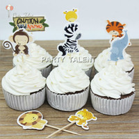 Wholesale Animal Party Cakes - Wholesale-Cup cake 48pcs Toppers for Kids Children Birthday Party Jungle Animals Theme Party Favor Cupcake Decoration