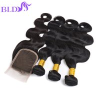 Wholesale Wavy Remy Human Hair Extensions - Brazilian Body Wave Virgin Hair With Closure Unprocessed Remy Human Hair Extension Wet And Wavy Brazilian Body Wave With Lace Closure