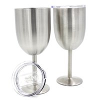 Wholesale Double Wall Glass Bottle - 28hk Wine Glasses Stainless Steel Tumber With Lid 400ML Cups Metal Goblet Mug Double Walled Margarita Glass Cup New Arrival