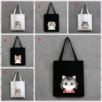 Hot Lovely Cartoon Cat Print Canvas Tote Bag Large Capacity Shopping sacs à main Sac à bandoulière Big Totes pour homme sac femme Mode