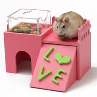 Wholesale Hamster Playhouse - ASLT New Cute Rat House Wooden Hamster Ladder Pet Small Animal Rabbit Mouse Hideout Luxury Home 2 Storey Platform Playhouse Nest