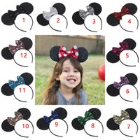 Wholesale Big Bow Head Band - Baby Hair bow 2017 Children mickey Minnie animal ears head band Sequins big bowknot girl's hair accessories Birthday is children's day gift