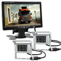 lkw-kamerasysteme großhandel-2 x 4pin Nachtsicht Rückfahrkamera Auto Kamera + DC 12V-24V 7 Zoll TFT LCD Auto Monitor System für Bus Houseboat Truck