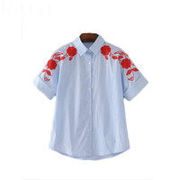wear striped shirts 2018 - women elegant floral embroidery striped shirts office wear short sleeve vintage blouse ladies fashion casual tops