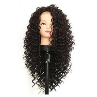 Long Afro Kinky Curly Synthetic Lace Front Perruques Pour Femmes Noires Heat Resistant Half Hand Attelé Fiber Hair Black Color Synthetic Wigs