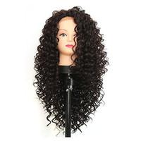 rendas frente meia perucas venda por atacado-Longo Lace Synthetic Afro Kinky Curly perucas frontal para amarradas Negras resistente ao calor Metade mão perucas sintéticas fibra Preto Cor de cabelo